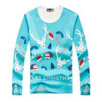 Christmas Deer Printed Sweater Mens Round Neck Loose Casual Pullover Sweaters