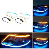Flexible LED Strip Light DRL Daytime Running Lights Soft Tube Turn Signal Guide Lamp 2PCS for Car Headlight