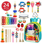 Prix de gros 24PCS Wooden Kids Musical Instruments Baby Toddlers Early Education Set Rattles Toys