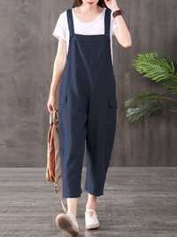 Women Solid Color Cotton Spaghetti Strap Pockets Jumpsuit