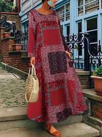 Women Bohemian Cotton Side Pockets Long Sleeve Dress