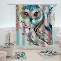 Owl Printed Shower Curtain Non-Slip Rug Three Set Bath Products Bathroom Decor with Hooks Waterproof