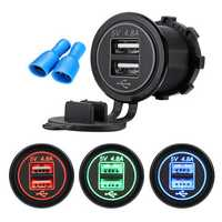 4.8A Dual USB Car Charger 2 Port LCD Display 12V/24V Universal Charging For Phone