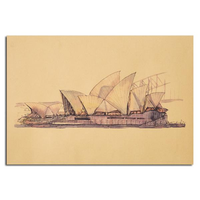 Sydney Opera House Sketch Poster Kraft Paper Wall Poster Sticker 21 inch X 14 inch