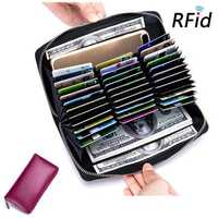 RFID Antimagnetic Genuine Leather 36 Card Slots Wallet