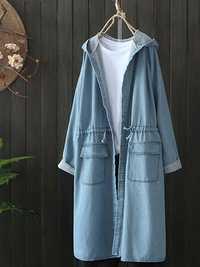 Casual Women Drawstring Long Sleeve Hooded Denim Coats