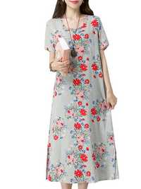 Casual Women Floral Printed Dress Pullover Short Sleeves Pockets Dresses
