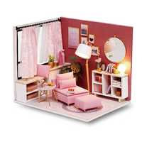 CuteRoom H-017 H-018Happiness Time Living Room Corner DIY Doll House With Furniture Music Light Cover Miniature Model Gift Decor