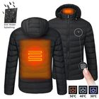 Offres Flash S/M/4XL Mens USB Heated Warm Back Cervical Spine Hooded Winter Jacket Motorcycle Skiing Riding Coat