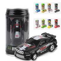 1PC 1/58 Electric Mini Coke Rc Car W/ LED Light Radio Remote Control Micro Racing Toy Random Color