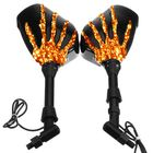 Offres Flash 8mm 10mm Pair Skull Hand LED Turn Signal Motorcycle Mirrors For Harley Cruiser