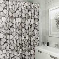 Polyester Waterproof Cobblestone Shower Curtain Bathroom Home Decor Hooks Set