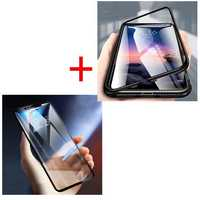 Bakeey Magnetic Adsorption Metal Tempered Glass Flip Protective Case+5D Tempered Glass Screen Protector For Xiaomi Redmi Note 6 Pro