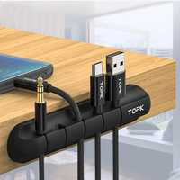 TOPK Desktop Tidy Management Cable Organizer Winder For iPhone X XS HUAWEI XIAOMI MI9 S10 S10+ Data Cable and Mouse Headphone Wire