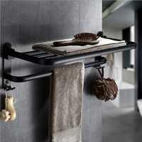 Foldable Vintage Towel Rack Black Brief Aluminum Towel Folding Towel Holder Double Bath Shelves Towel Rail Bathroom Fixed Accessories