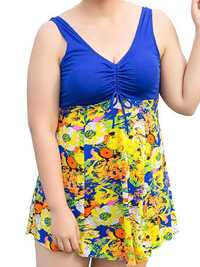 Conservative Deep V Sleeveless Flower Printing U Shape Back Wireless Swimdresses