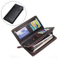 Men Large Capacity PU Leather Card Slots Zipper Pouch Phone Wallet for iPhone Xiaomi Mobile Phone