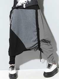 Women Casual Drop-Crotch Patchwork Harem Pants
