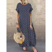 Women Polka Dot Print O-neck Short Sleeve Maxi Dress