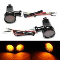 Motorcycle LED Turn Lights Indicator Amber Black High/Low Beam