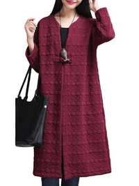 O-NEWE L-5XL Vintage Women Dots Cotton Cardigan Coat
