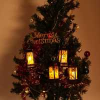 Santa Claus Snowman Jesus Elk Pattern Hanging Christmas Simulation Flame Holiday Night Light Decor