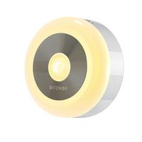 BlitzWolf® BW-LT15 LED Motion & PIR Infrared Sensor Night Light 3000K Color Temperature 120° Lighting Angle Battery Operated Night Lamp
