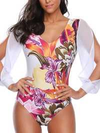 Long-Sleeved One-Piece Chiffon Printing Swimwear