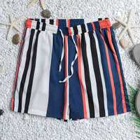 Men Colorful Stripe Drawstring Hawaiian Board Shorts