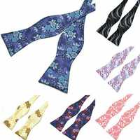 PenSee Men's Self Bow Ties Casual Pattern Paisley Jacquard Woven Silk Neckties Accessory