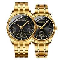 CHENXI CX-069A Gold Case Full Steel Waterproof Couple Watch