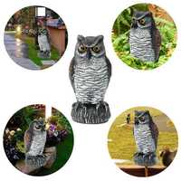 Fake Standing Owl Bird Hunting Shooting Decoy Deterrent Repeller Garden Scarer