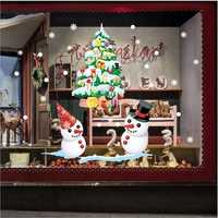 Christmas Shop Window Showing White Snowman Color Christmas Tree Wall Stickers