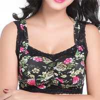Women Plus Size Comfy Floral Printing Lace Wireless Bra Breathable No Rim Vest Bras