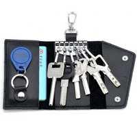 Unisex Genuine Leather Multifunctional Car Key Holder Card Holder