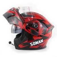 DOT SOMAN 955 Motorcycle bluetooth Full Face Helmet Eye Style Flip Up Double Visors Helmets With BT Headset Earphone