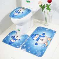 3Pcs Set Merry Christmas Toilet Seat Covers Non-Slip Snowman Bathroom Sets Pedestal Rug Lid Toilet Cover Bath Mat