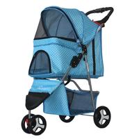 Honana Light Folding Pet Cart Three Wheels Pet Cart Outdoor Travel Pet Cart for Dog Cat Teddy Stroller