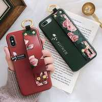 Fashion Flower Pattern Strap Ring Grip Stand Protective Case For iPhone XR/XS/XS Max/X/8/8 Plus/7/7 Plus/6s/6s Plus/6/6 Plus