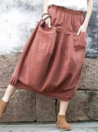 Casual Women Pure Color Cotton Skirts