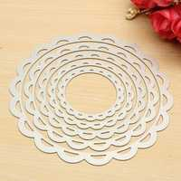 5 Pcs Flower Circle Set Scrapbooking Dies Cutting Frame Decorative Nesting Craft