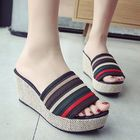 Meilleurs prix Women Slip On Wedge Shoes Stitching Stripe Platform Sandals