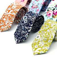 Mens Wedding Cotton Printing Floral Ties Suit Skinny Ties Grooms Necktie For Men