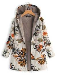 Floral Print Long Sleeve Hooded Vintage Coats