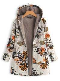 Floral Print Long Sleeve Hooded Vintage Coats