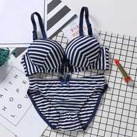 Breathable Gather Thin Cup No Rims Bra Set