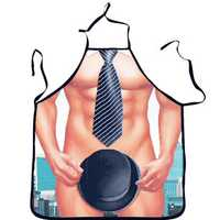 Washable 3D Muscle Male Apron Naked Muscle Men Kitchen Cooking Barbecue Apron Gift For Boyfriend