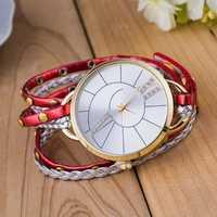 Simple Dial Leather Strap Quartz Watch Women Bracelet Watch