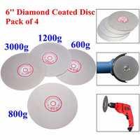 4pcs 6 Inch 600/800/1200/3000 Grit Flat Lap Wheel Lapping Grinding Disc