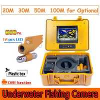 CR110-7A Under Water Fishing Camera System 7 inch Monitor 12pcs White LED Single Rod Camera with DVR